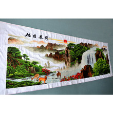 Cross Stitch finished   / cross stitch landscape painting/Machine cross  stitch finished - rising sun