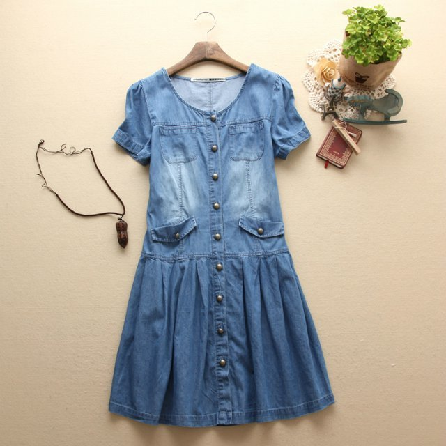 2016 Summer New Style Women Fashion Short Sleeves Casual Denim Dress, Ladies Elegant Slim Cute Plus Size Dresses  -  ROCI Clothing Group Ltd store