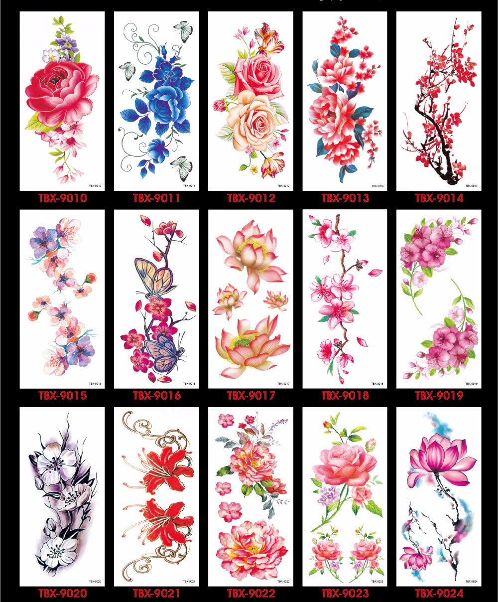 17 Waterproof temporary tattoos stickers sexy romantic dark rose flowers flash fenna tattoos fake body art Tattoo sleeve 12