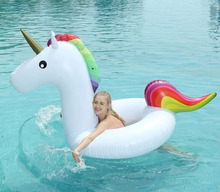 120CM Inflatable Unicorn Swimming Ring Inflatable Circle Ring Bed Buoy Kickboard Summer Party Inflatable Unicorn Swim Pool Toys