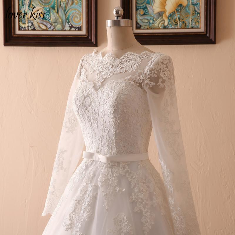 Lover Kiss Vestido De Noiva Custom Sheer Tulle Long Sleeve Wedding Dress Corset Back Lace Ball Gown Bridal Gowns For Weddings 8