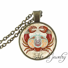 2017 Cancer Zodiac Necklace Art Picture Pendant Jewelry The Fourth Astrological Sign Cancer June July Birthday Gifts Necklaces(China)