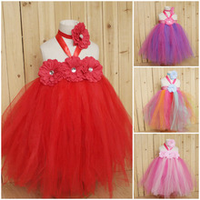 Wholesale Baby Girl Wedding Bridal Dress Princess Handmade Children Formal Dresses Fluffy Tutu Mesh Flower Dress With Headband