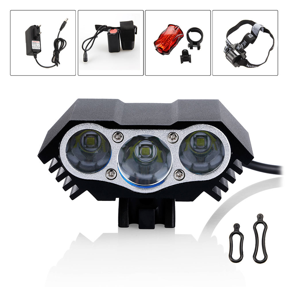 3x CREE XM-L T6 LED Bicycle Light Head Front light +8.4v 12000mAH Battery Pack+Rear Light With Headband<br><br>Aliexpress