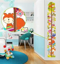 Cartoon Cute Animals Stuff Measurement of height DIY Wall Stickers Kids Room Nursery Home Decor Mural Decal AY9179(China)