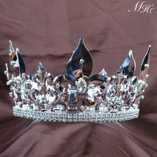 "Men's King Tiara Imperial Medieval Crown Fleur De Lis 4.25"" Clear Crystal Full Circle Round for Pageant Costumes Art Deco(China)"