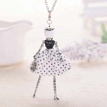 2017 new fashion black resin white dress doll long necklace women alloy cute statement jewelry girl pendant accessories female(China)