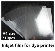 100% transparent inkjet film A4 size inkjet film with adhesive for Logo design printing(10 sheets one lot)