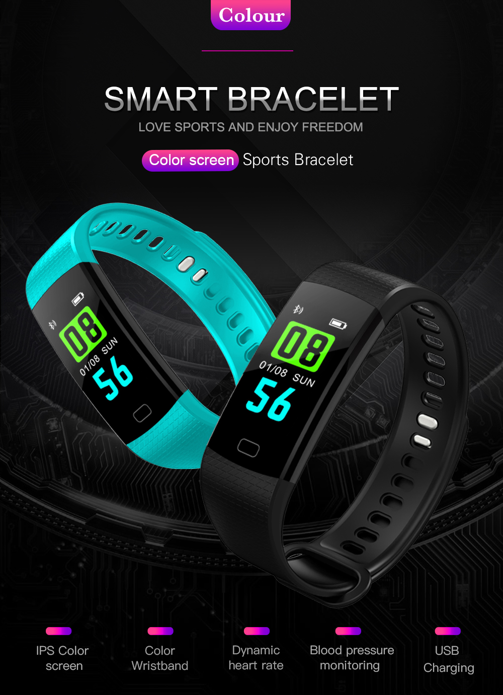 Y5 Smart Band Watch Colorful Display Wristband Activity Fitness Tracker Smart Electronics Heart Rate Bracelet VS Xiaomi Miband 2 -01