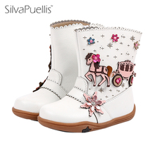 SilvaPuellis Girl Boots 2017 Autumn And Winter New Girls Snow Boots Non-slip Fashion Children's Boots Plus Cashmere Warm Short(China)