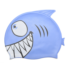 2016 1PCS Pink Blue Color Cute Children Cartoon Silicone Swimming Cap Child Diving Waterproof Fish Shark Pattern Swimming Cap(China)