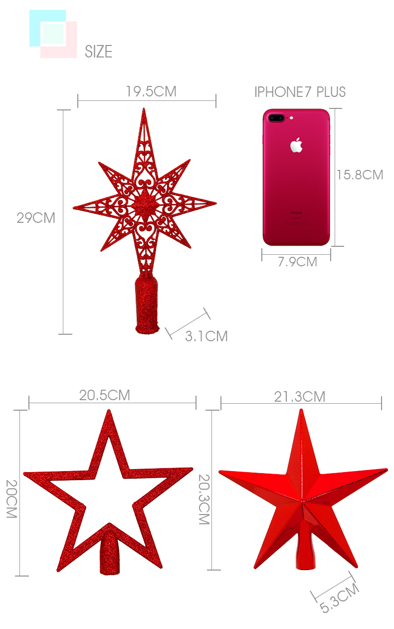 05 2018 inhoo Red Christmas Tree Top Decorations Stars For Home House Table Topper Decor Accessories Ornament Xmas Decorative Supplies