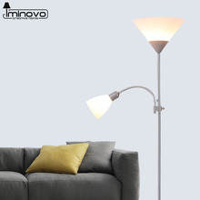 IMINOVO Floor Lamp Fashion Desk Lamps E14/E27 Bulbs Dual Control Button Switch Standard Light For Home Decor Living Room(China)