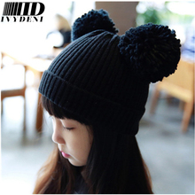 Cute Mickey Ears Beanies Pom Pom Crochet Kids Hats Girls Fashion Handsome Big Boys Hats And Caps Winter Knitted Hats Casual Cap