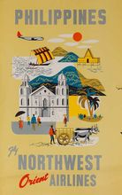 Northwest Orient Airline Philippines Trip View Landscape Travel Retro Vintage Poster Decorative DIY Art Home Bar Posters Decor(China)