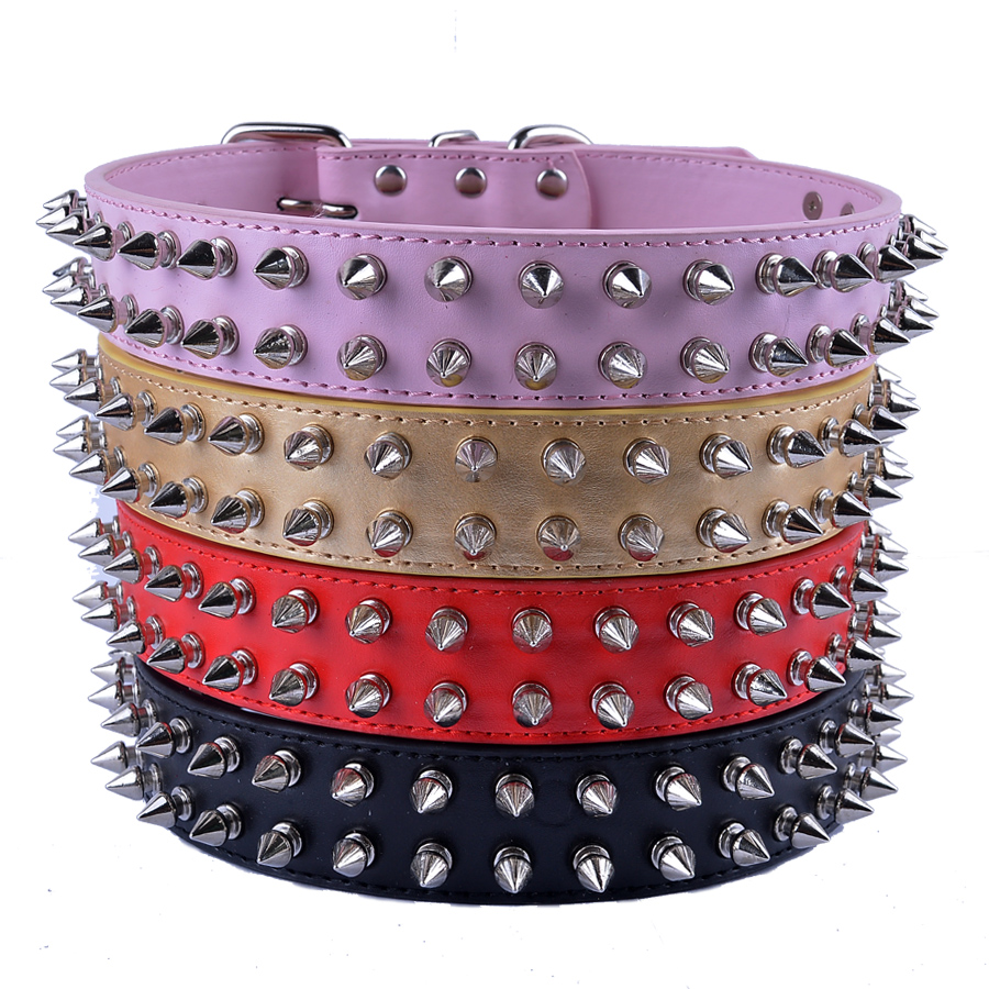Personalized Spiked Dog Collar Large Gold Black Red Pink Pu Leather Collars For Big Dogs Pet Products Dog Collars & Leads(China (Mainland))