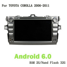 1024*600 8 Core RAM 2G ROM 32G 2 Din Android 6.0 Car PC Headunit GPS Navi Car DVD Player For Toyota COROLLA 2006-2011