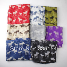 2015 Latest Fashion Deer Pattern Cotton Voile Scarf Women Animal Scarf Shawls 8colors Wholesale 10pcs/lot(China)