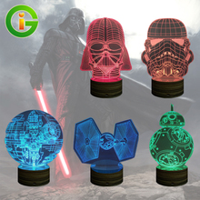3D Illusion Led Night Light  Star Trek / Death Srar / Stormtrooper /Darth Vader /Tie Fighter /BB8 Home Bedside Desk Table Lamp