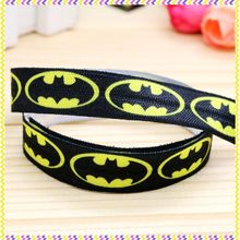 5/8'' Free shipping Fold Elastic FOE batman printed headband headwear hair band diy decoration wholesale OEM B1134