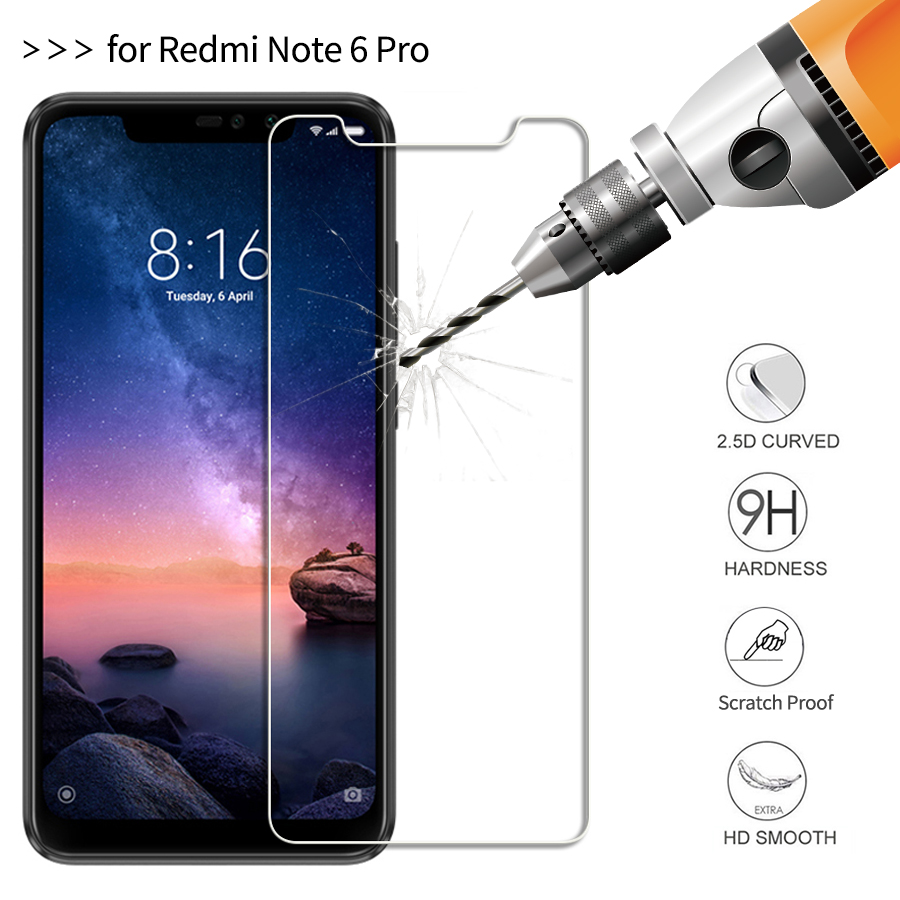 Tempered Glass Xiaomi Redmi Note 6 Pro 6.26 inch 9H Explosion-proof Screen Protector Protective Glass Film Full Cover