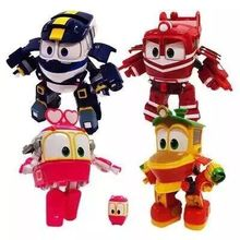 NEW hot 4pcs/set 8cm Robot Trains Transformation Kay Alf Dynamic Train Family Deformation Train Car action figure toys toy doll