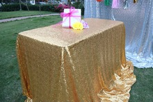 "Sequin Tablecloth Wedding Cake Tablecloth ,Rectangle /square Sequins Table Linen , wedding sequin table linens 90""X132""Gold"