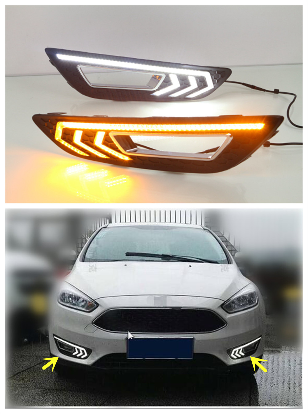 Turn Signal With Dimming Style Relay 12v LED Auto Car Daytime Running Light DRL Front Bumper Fog Lamp For Ford Focus 4 2015 2016<br><br>Aliexpress