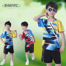 BHWYFC Children Kids Tennis Shirts Sports Jersey Wicking Quick Dry Breathable Children Badminton Racing Suit T-Shirt Table Tenni
