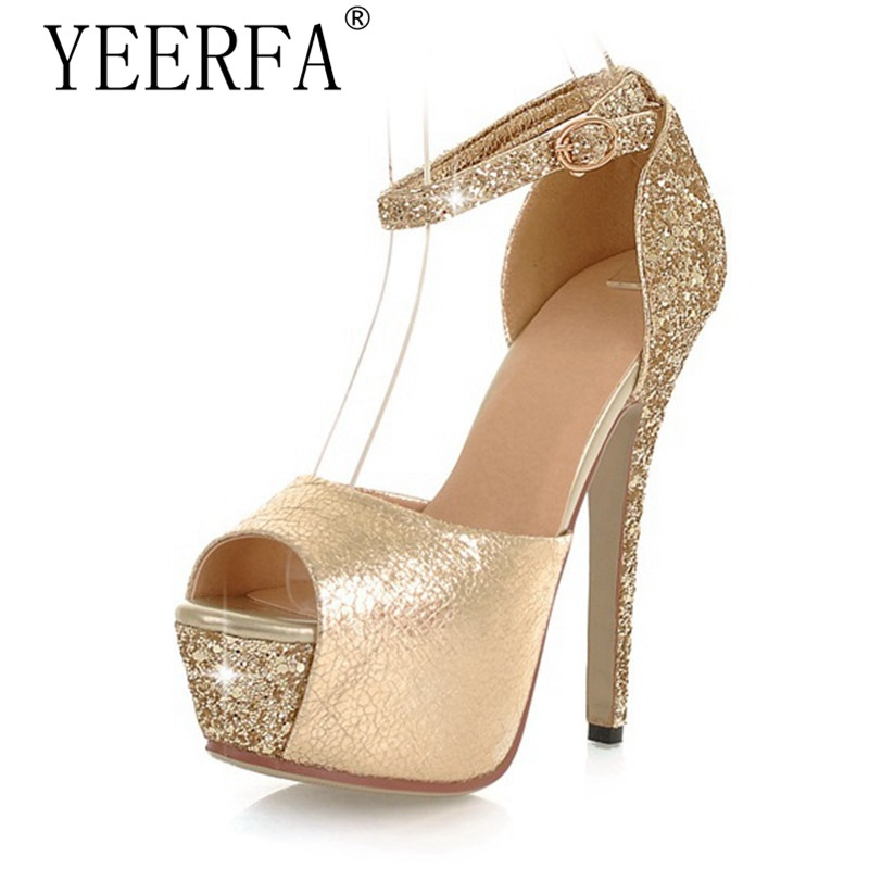 YIERFA High quality Glittering Size 35-43 Sexy High Heels Platform Shoes Pumps Womens Dress Fashion Wedding shoes lady Pumps<br>