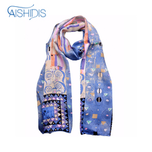"Aishidis Fashion Designer Brand Women Shawl Silk Scarf Oil Painting Art Works Gustav Klimt's ""Fregio Stoclet"" Pure Handmade Hems"