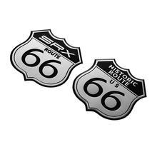 7x7cm 3D Metal Modification SRX Logo Decal America US HISTORIC ROUTE 66 ROAD Sign Emblem Badge Moto Car Stickers For Cadillac