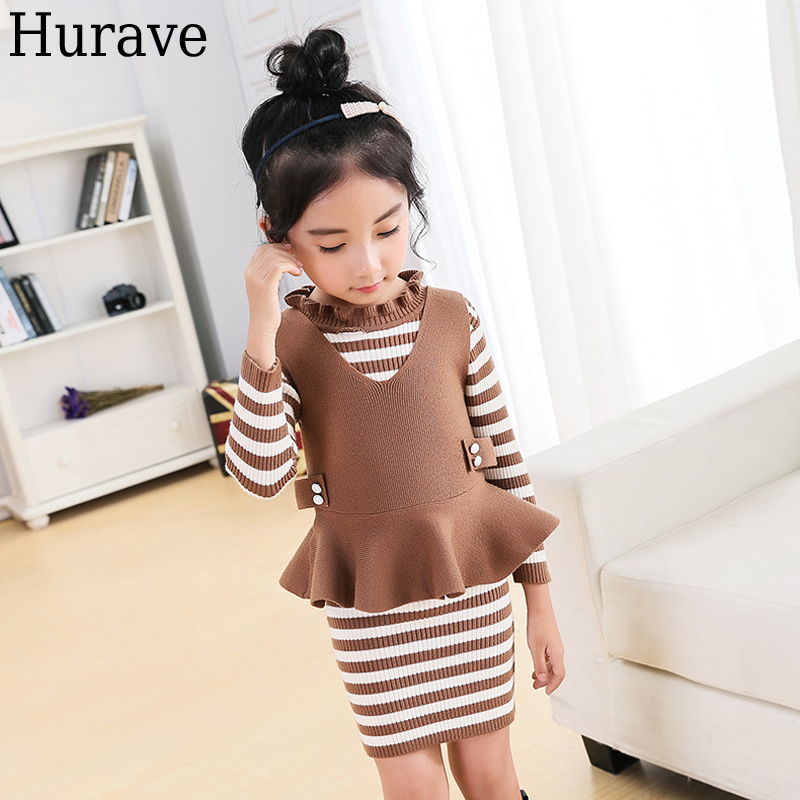 Hurave  fashion children clothes Autumn girl clothes sets elastic shirt children long sleeves knitted sweater dress<br>