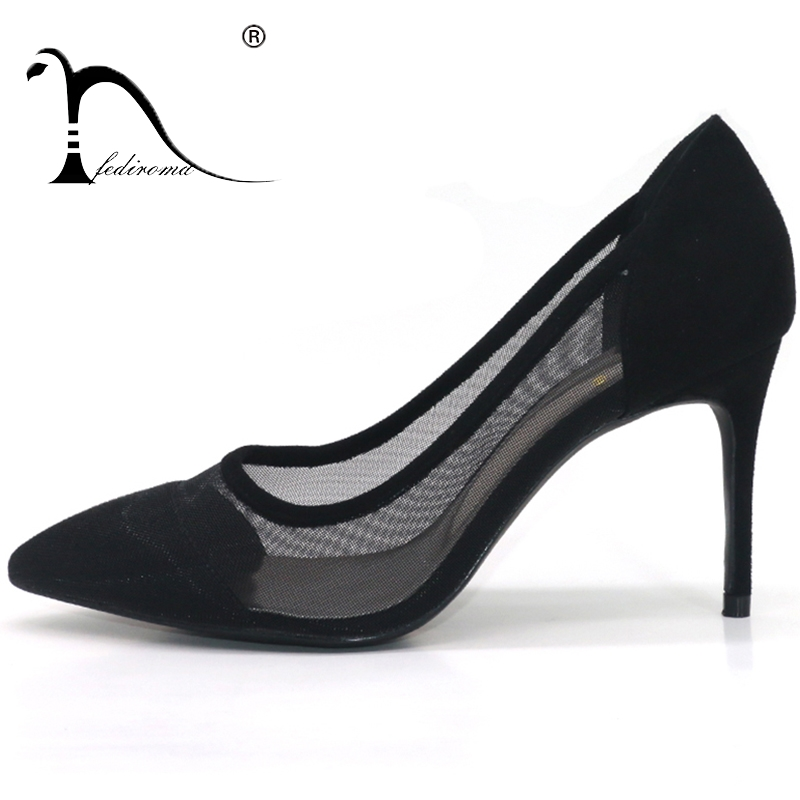 Women Heels Summer Mesh Dress shoes Pointed Toe High Heel shoes for women Spring sexy Pumps Woman High heels Big Size 35-42<br>