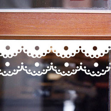 Cartoon wall stickers kitchen cabinet mirror waistline stickers glass window paste flowers fashion lace decoration(China)