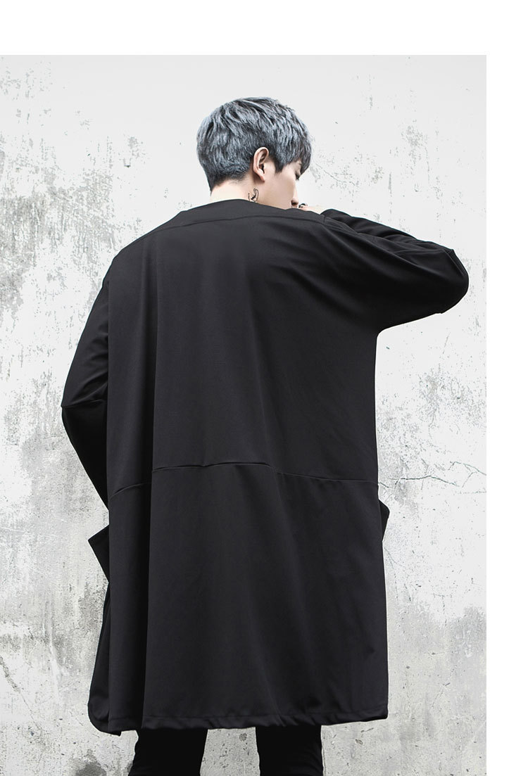 Men Streetwear Hip Hop Fashion Casual Long Trench Coat Punk Style Shawl Costume Long Sleeve Stripe Cardigan Jacket Overcoat