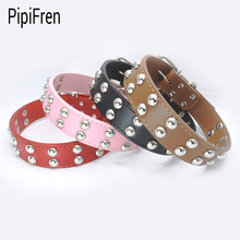 PipiFren Spiked Genuine leather Big Dogs Collars Rivet Accessories Supplies For Large Dog Necklace Leather Pets Collar chien(China)