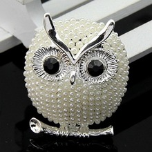 Cheap Wholesale Price Retail Silver and Golden Colors Cute Korean Owl Brooches for Women Party Dress Coat Suites WL161129002