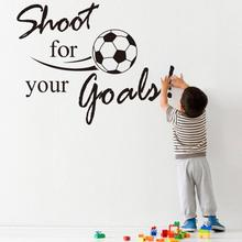 Super Deal Shoot For Your Goals Football Soccer Removable Decal Wall Sticker Home Decor Decorative Mural Child Rooms HYM02