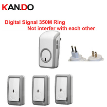 Euro/US plug 3 emitters+1 receiver wireless doorbell Waterproof 380 Meter door chime 48 melodies door ring digital signal ring