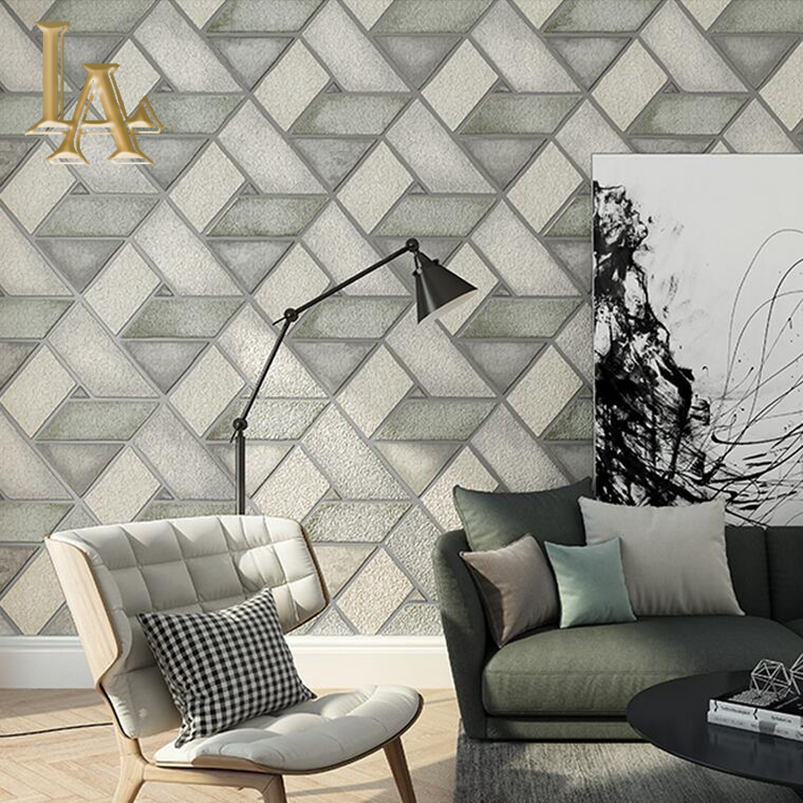 High Quality Thick Flocked Modern 3D Geometry Brick Wallpaper For Walls Decor Home Wall Paper Rolls For Living room Bedroom<br>