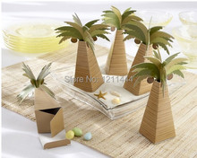 new 60pcs/lot coconut tree coconut palm candy box for wedding decoration holiday supplies