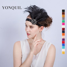 2017 Black Feather Headband Funny Flapper Sequin Headpiece Costume Head Band Party Favor women wedding hair accessories SYF181(China)