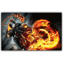 Modern Movie Poster Ghost Rider Fire Skull Motorcycle Art Wall Pictures For Living Room Wall Canvas Print 15*24 20*32 22*36 030