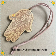 scented Fatima hand wood craft car handing pendant with rope, religious catholic car purfume decoration with 2 sides engraved