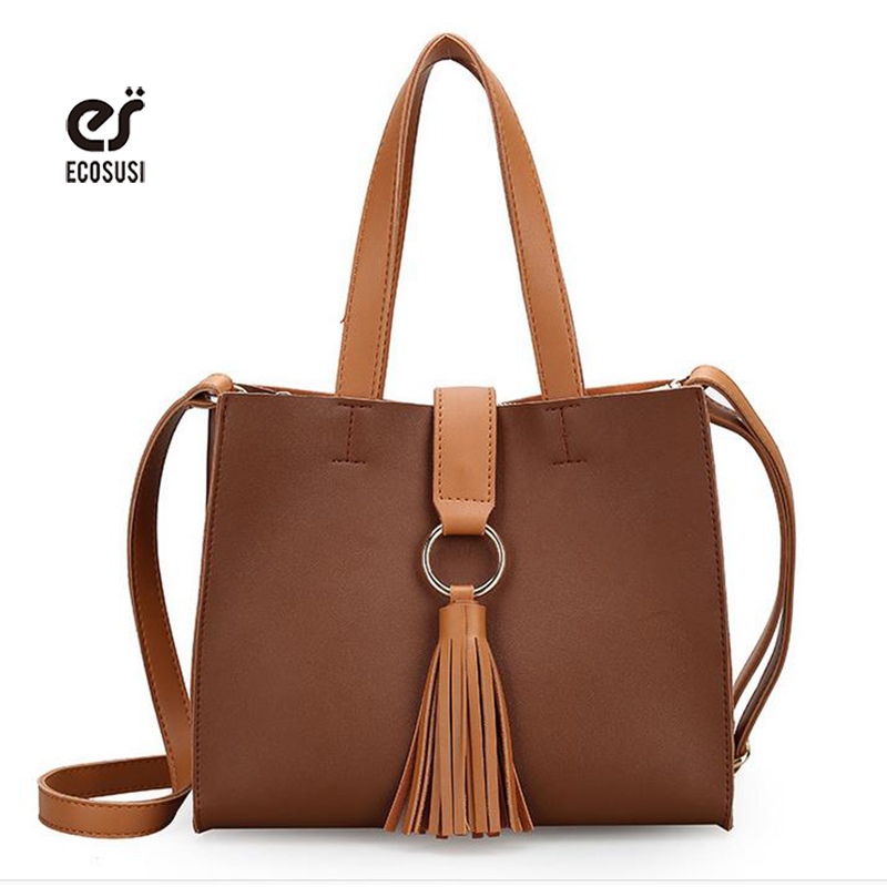 ecosusi Brand Women Messenger Bags Fashion Women Shoulder Bags Office Lady Handbag With Tassels Leather Tote Solid Crossbady Bag<br><br>Aliexpress