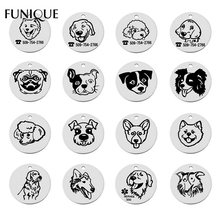 FUNIQUE Fashion Stainless Steel Round Pendants Jewelry For Pets Dogs Tags Blank Pendant Customized Engrave Name ID Tags(China)