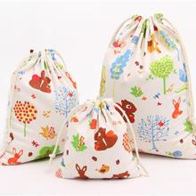 1 PC Animal Print Drawstring Storage Bags Fox Tree Cartoon Storage Sack Cute Sweet Sacks for Candy Travel Bedroom Organize S M L