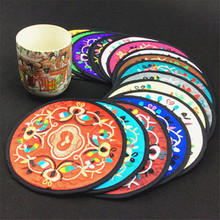 1000pcs Chinese style decorations Patterns Embroidered Coasters China Wind Tea Pad Creative Thermal Pad Safety Protection Base(China)