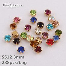 News 288pcs Claw rhinestones Gold Base Sew-On Mix Colors rhinestones 3mm ss12 glass stone for wedding dress decoration